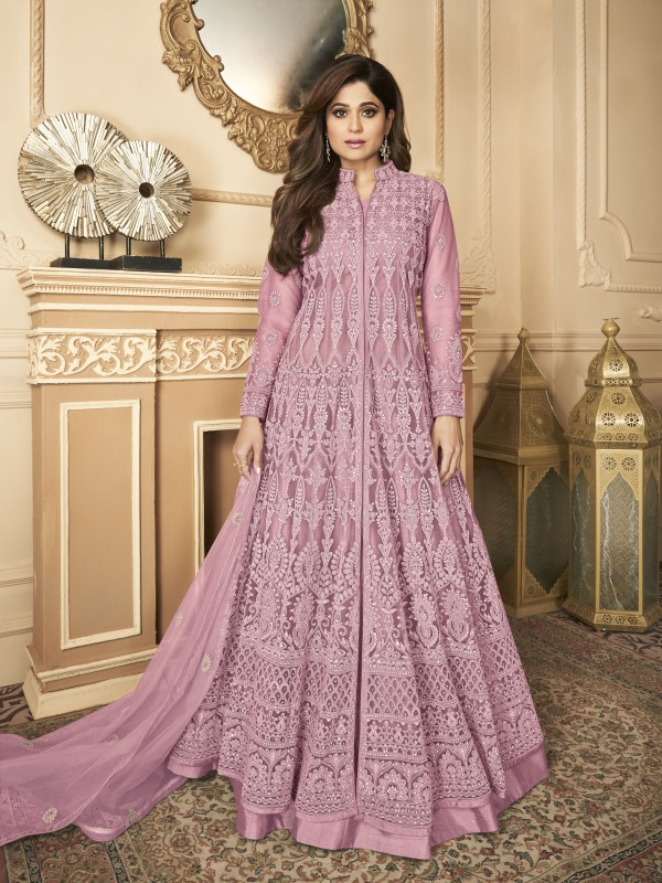 Butterfly net Fabrics Party Wear Gown In Pink Color With Embroidery Work