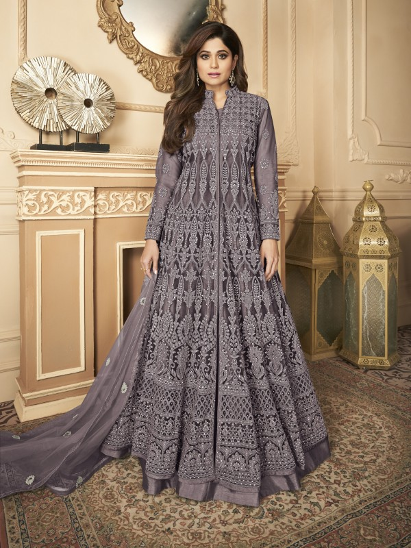 Butterfly net Fabrics Party Wear Gown In Wine Color With Embroidery Work