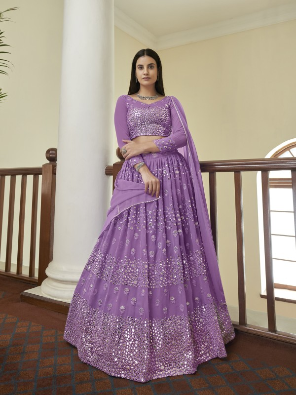 Georgette  Party Wear Lehenga In Lavender Color With Embroidery  Work