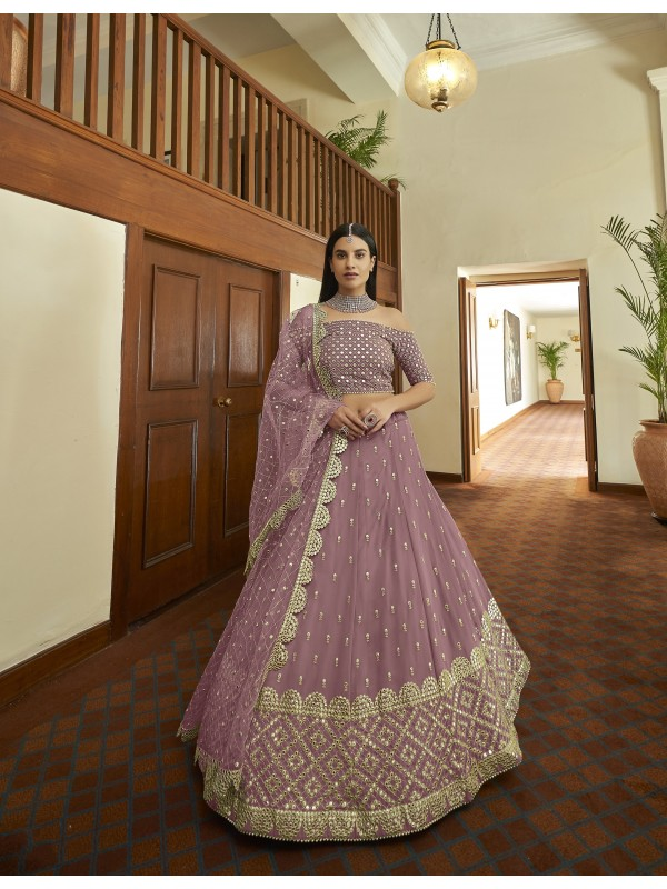 Georgette  Party Wear Lehenga In Mauve Color With Embroidery  Work