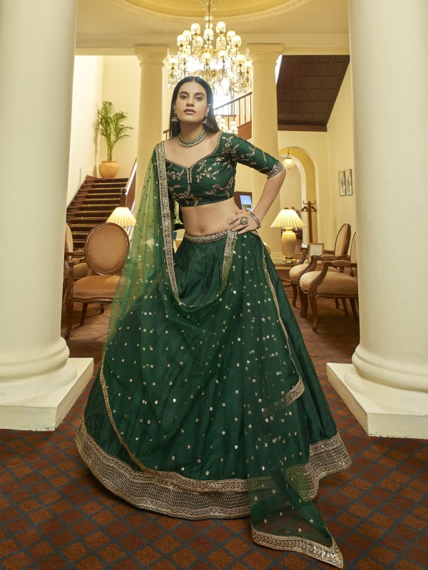 Art Silk   Party Wear Lehenga In Green Color With Embroidery  Work