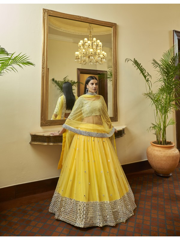 Soft Premium Net Party Wear Lehenga In Yellow Color With Embroidery  Work