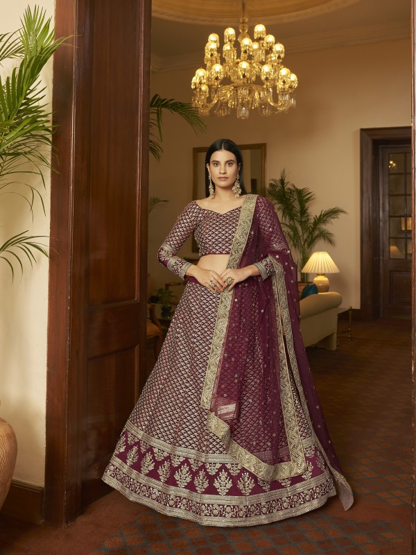 Crepe Party Wear Lehenga In Maroon Color With Embroidery  Work