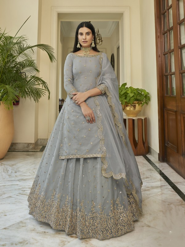 Organza Party Wear Lehenga In Grey Color With Embroidery  Work