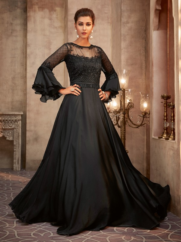 Soft Premium Net &  Georgette Silk  Party Wear Ready made Gown In Black Color  With Embroidery Work