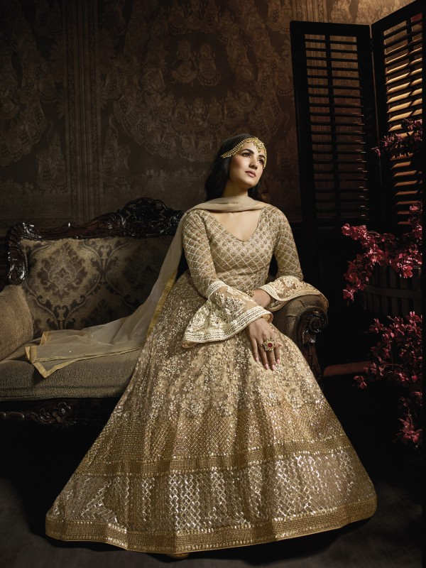 Beige Soft Premium Net  Wedding Wear Gown With Embroidery , Resham & Stone Work