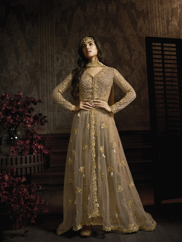Gold Soft Premium Net Embroidery Wedding Wear Gown With Resham & Stone Work