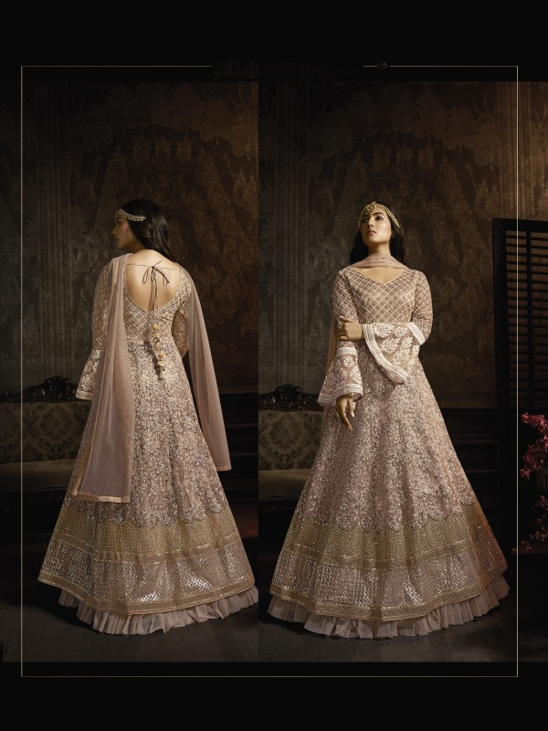 Pink Soft Premium Net Embroidery Wedding Wear Gown With Resham & Stone Work