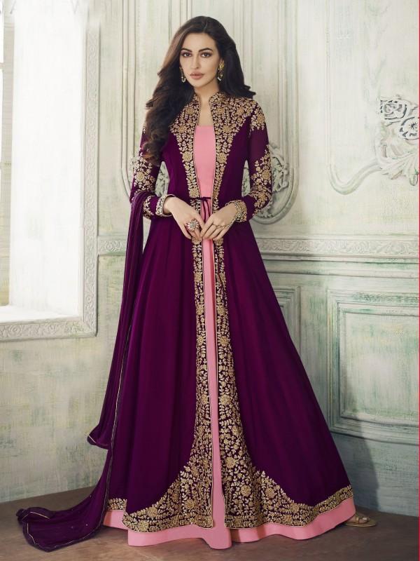 Purple Hot Pink Georgette Party Wear Designer Long Lenth Anarkali Suit