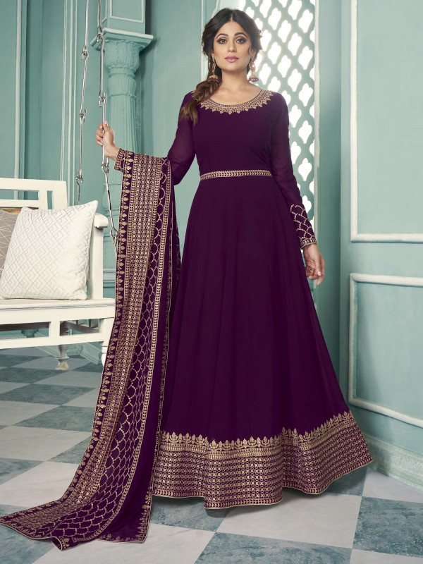Pure Georgette Fabrics Party Wear Gown In Violet Color With Embroidery Work