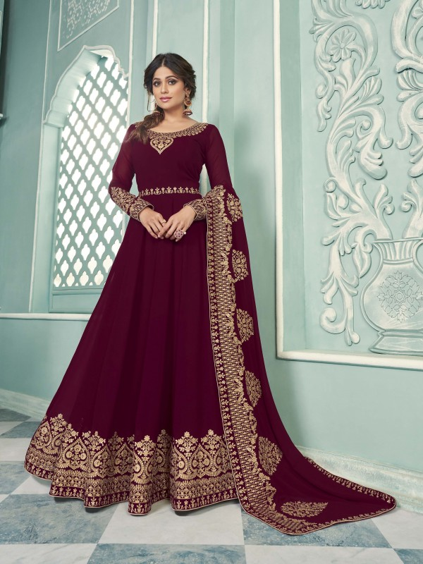 Pure Georgette Fabrics Party Wear Gown In Wine Color With Embroidery Work
