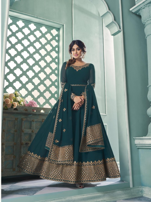 Pure Georgette Fabrics Party Wear Gown In Teal Blue Color With Embroidery Work