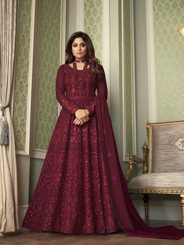 Pure Georgette Fabrics Party Wear Gown In Maroon Color With Embroidery Work