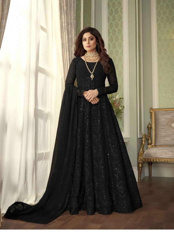 Pure Georgette Fabrics Party Wear Gown In Black Color With Embroidery Work