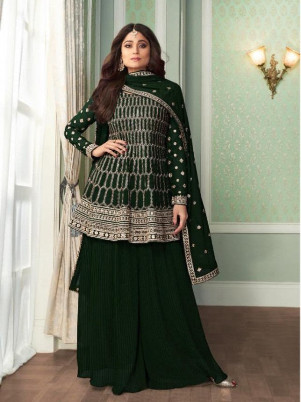 Georgette Party Wear Sarara in Green Color with  Embroidery Work