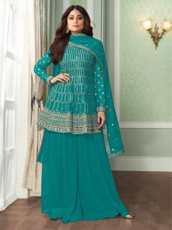 Georgette Party Wear Sarara in Blue Color with  Embroidery Work
