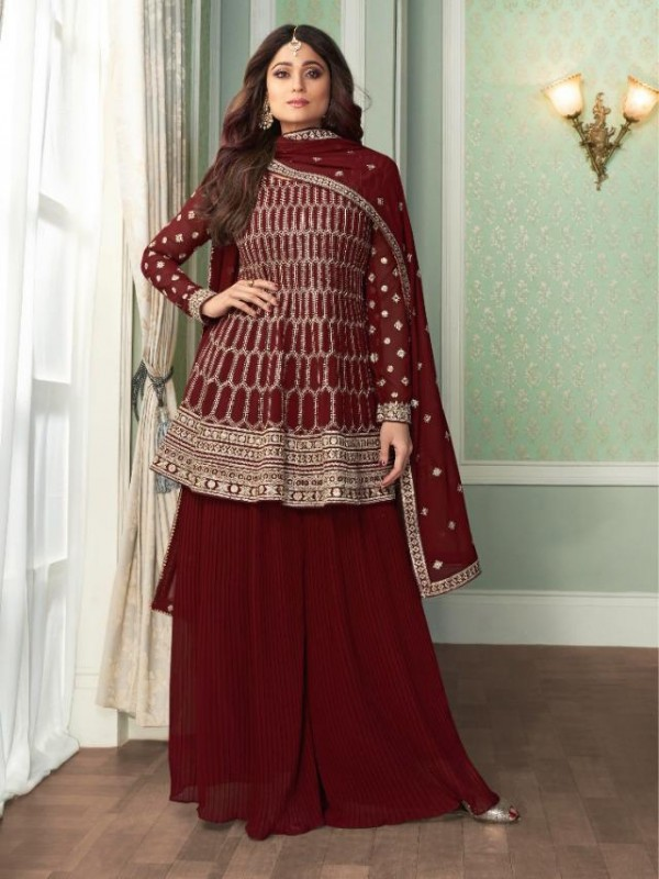 Georgette Party Wear Sarara in Maroon Color with  Embroidery Work