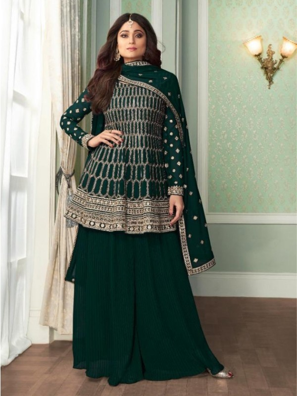 Georgette Party Wear Sarara in Teal Green Color with  Embroidery Work