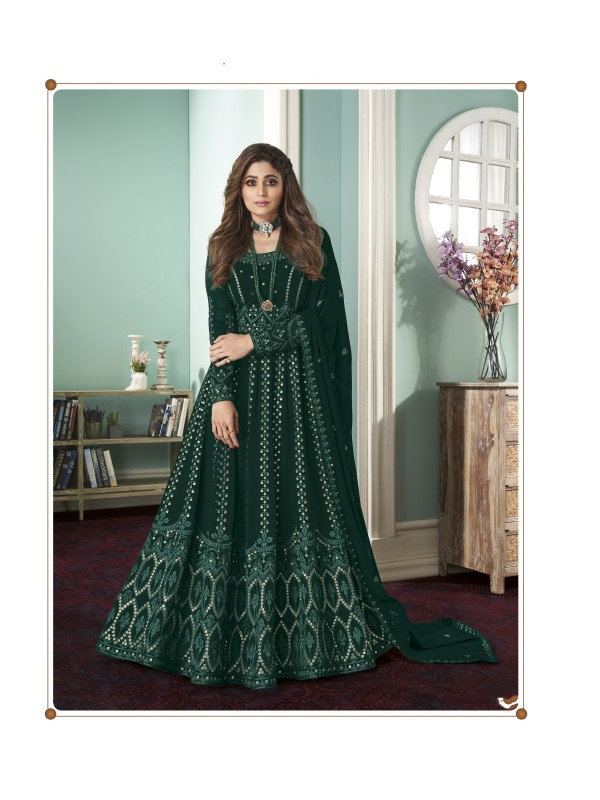 Pure Georgette Fabrics Party Wear Gown In Green Color With Embroidery Work