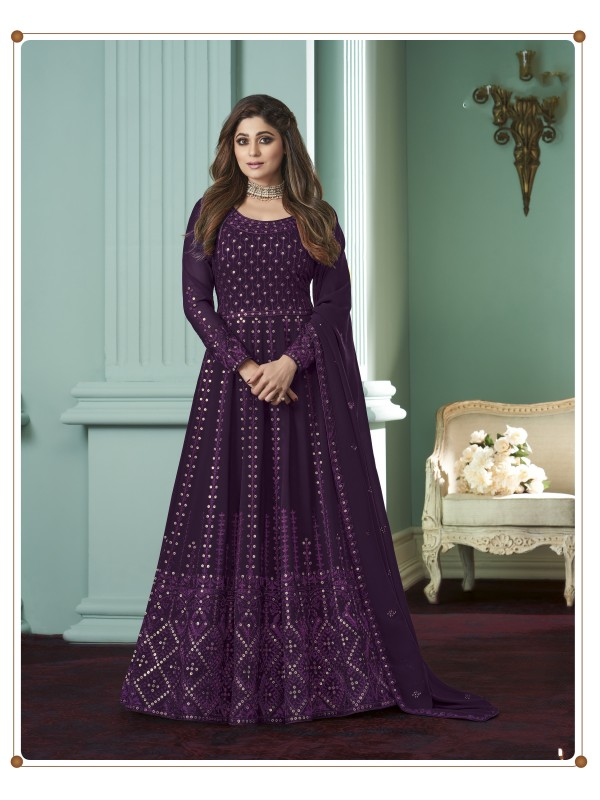 Pure Georgette Fabrics Party Wear Gown In Purple  Color With Embroidery Work