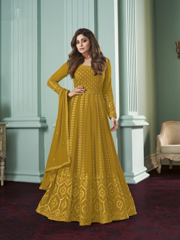 Pure Georgette Fabrics Party Wear Gown In Mustard  Color With Embroidery Work