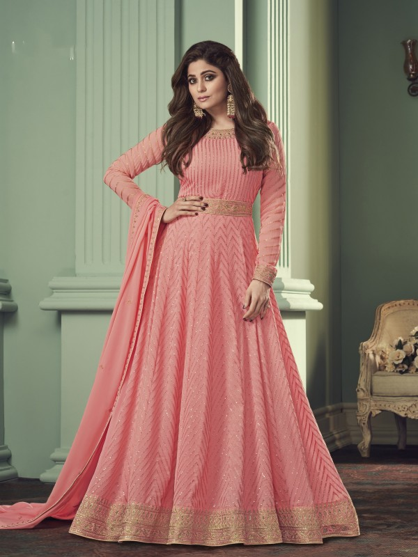 Pure Georgette Fabrics Party Wear Gown In Pink  Color With Embroidery Work