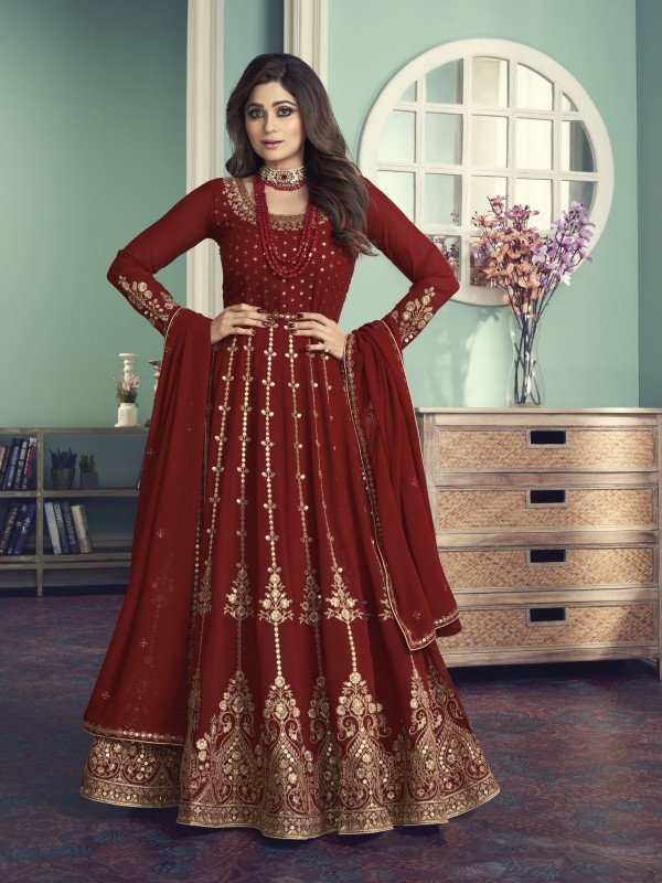 Pure Georgette Fabrics Party Wear Gown In Red Color With Embroidery Work