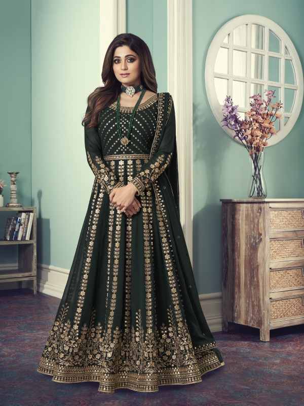 Pure Georgette Fabrics Party Wear Gown In Teal Green Color With Embroidery Work