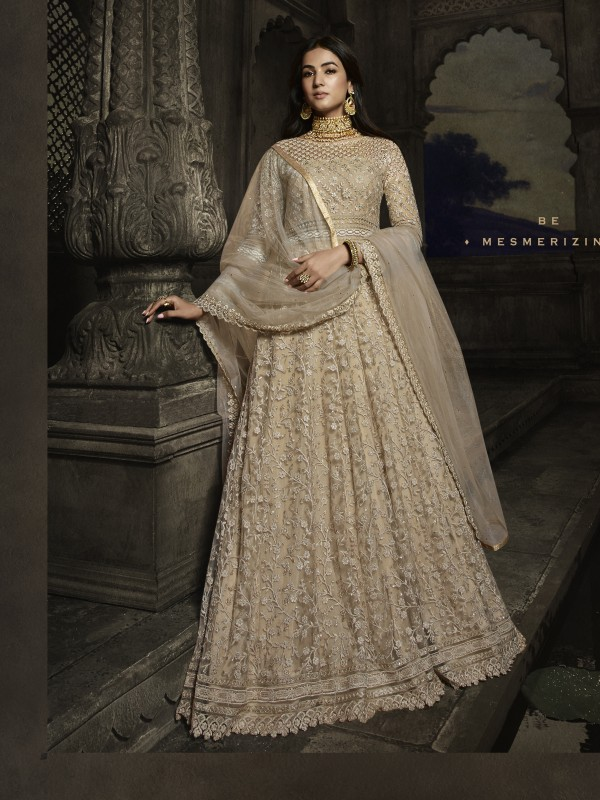 Soft Premium Net Wedding wear Gown in Light Beige with Embroidery & Pearl work