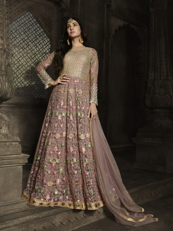 Soft Premium Net Wedding wear Gown in Light Pink with Embroidery & Stone work