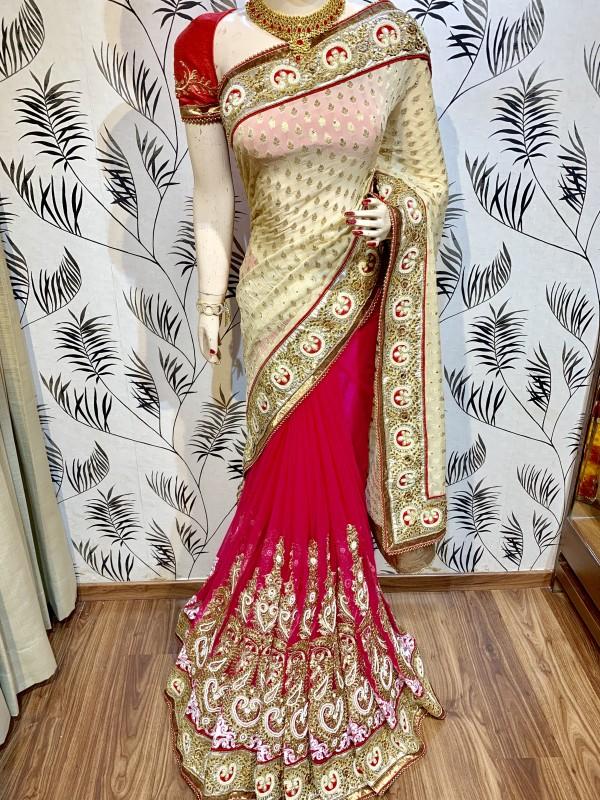 Pure Viscose Silk Wedding Wear Saree In Pink With Crystals Stone Work