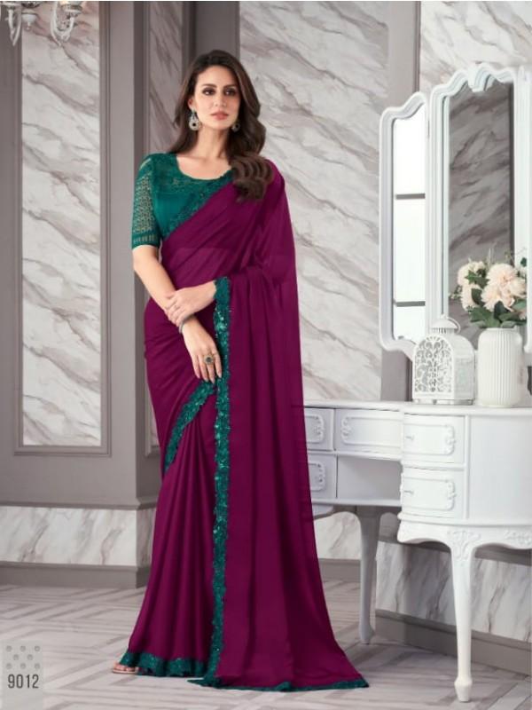 Tabi Silk  Fabrics Long Gown In Grey Color