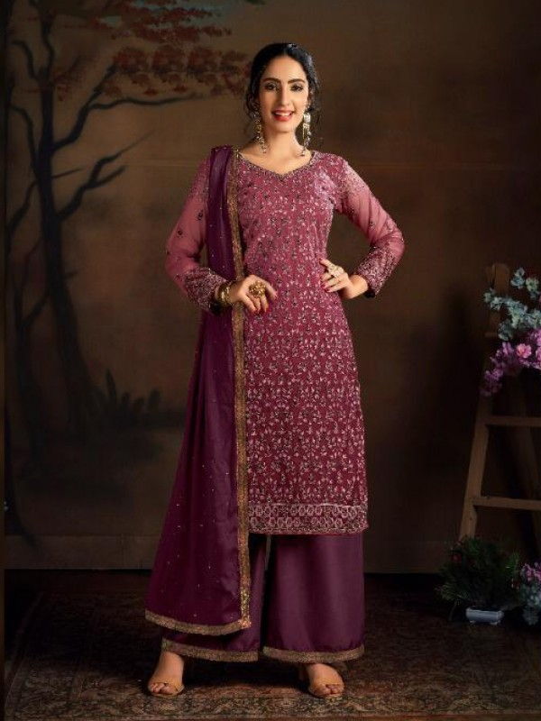 Soft Premium Net Party Wear Salwar Suit In Magenta color with Embroidered Work