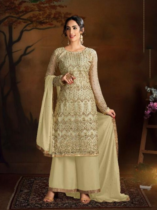 Soft Premium Net Party Wear Salwar Suit In Golden color with Embroidered Work