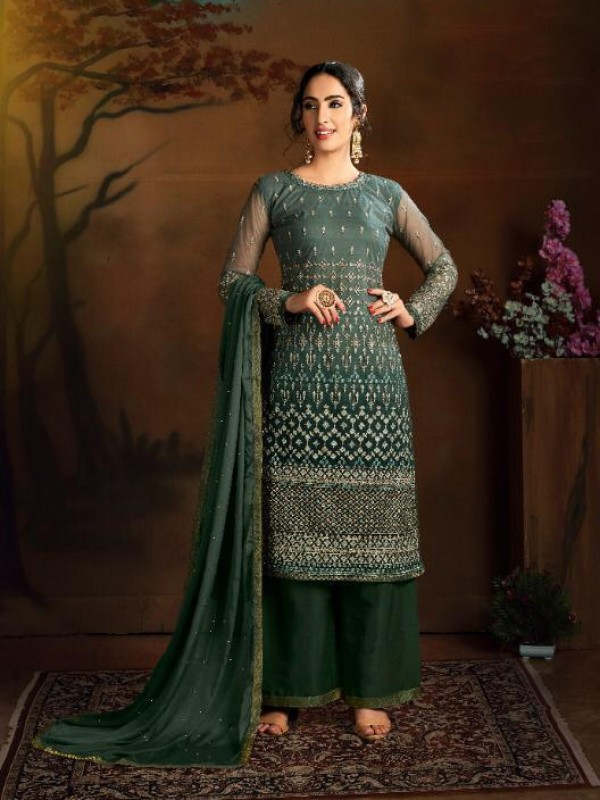 Soft Premium Net Party Wear Salwar Suit In Green color with Embroidered Work
