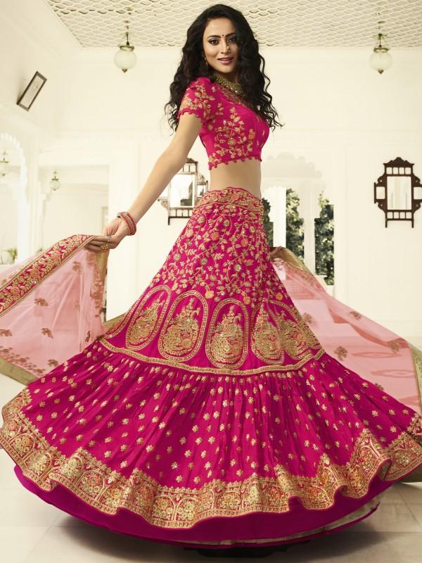 Pure Raw Silk Wedding Lehenga in Peacock Rani color With Embroidery Work & Stone Work
