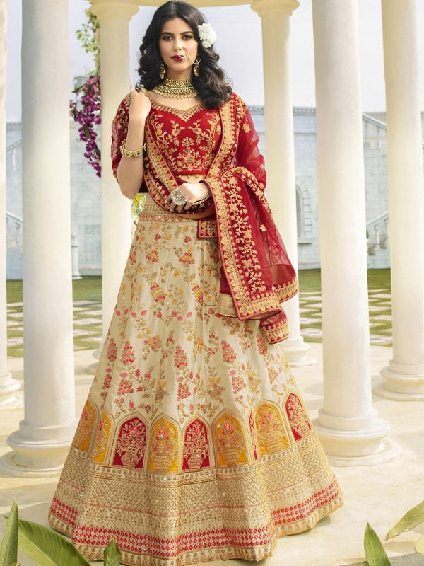 Pure  Silk Wedding Lehenga in Off White & Red Color With Embroidery Work & Stone Work