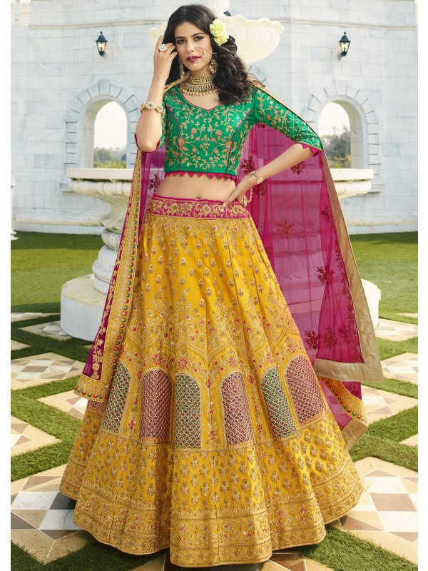 Pure  Silk Wedding Lehenga in  Yellow  Color With Embroidery Work