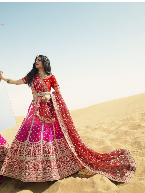 Gaji  Silk  Wedding Lehenga in Pink & Red Color With Embroidery Work & Stone Work
