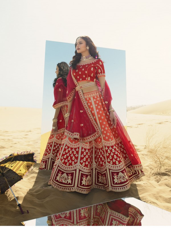 Gaji  Silk  Wedding Lehenga in Orange & Red Color With Embroidery Work & Stone Work