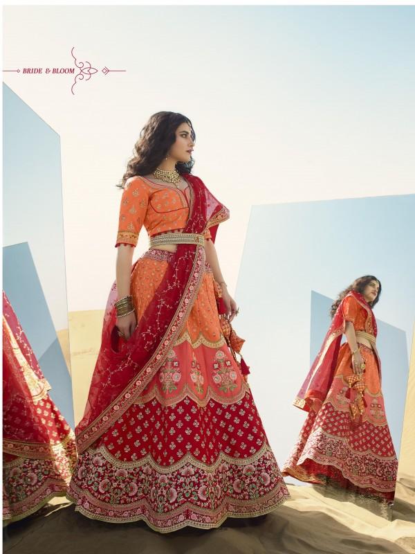 Gaji  Silk  Wedding Lehenga in Multi Color With Embroidery Work & Stone Work