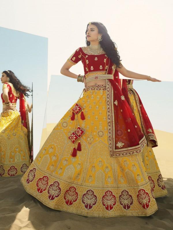 Gaji  Silk  Wedding Lehenga in Yellow & Red Color With Embroidery Work & Stone Work