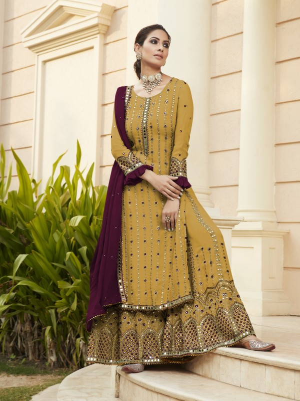 Pure Georgette Party Wear Sarara in Mustard Color with  Embroidery Work