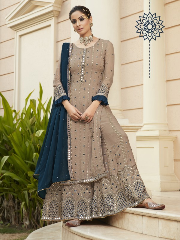 Pure Georgette Party Wear Sarara in Beige Color with  Embroidery Work