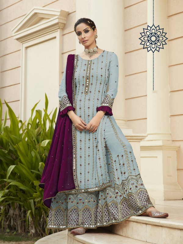 Pure Georgette Party Wear Sarara in Grey Color with  Embroidery Work