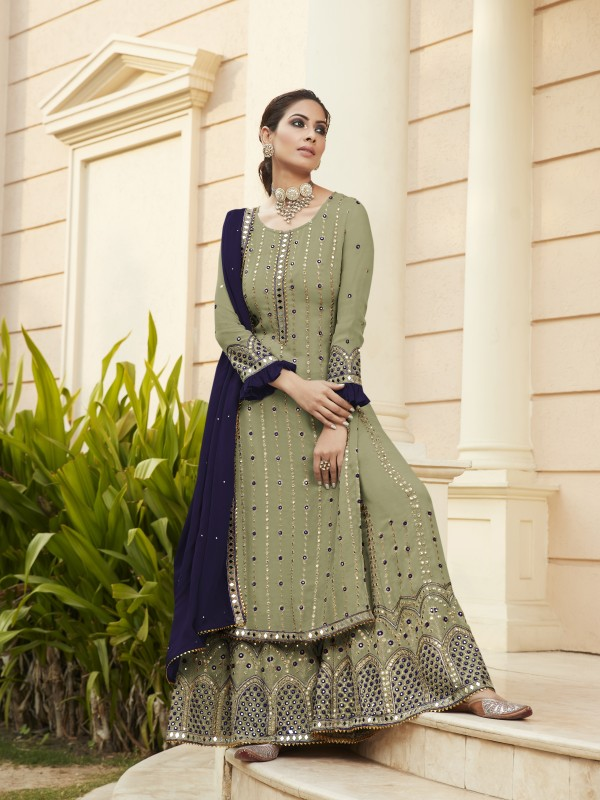 Pure Georgette Party Wear Sarara in Pastel Green Color with  Embroidery Work