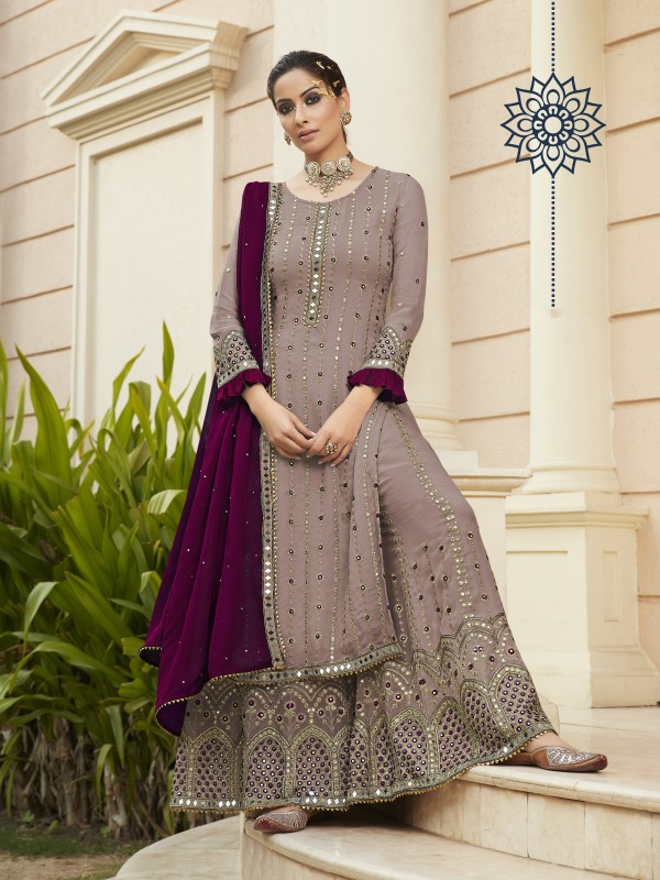 Pure Georgette Party Wear Sarara in Dusty Purple Color with  Embroidery Work
