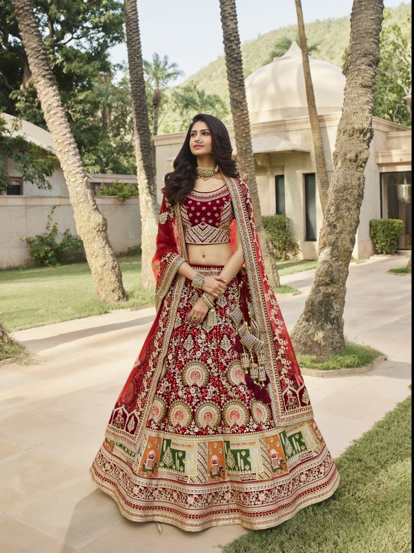 Pure Micro  Velvet Bridal  Wear Lehenga In Red With Embroidery Work