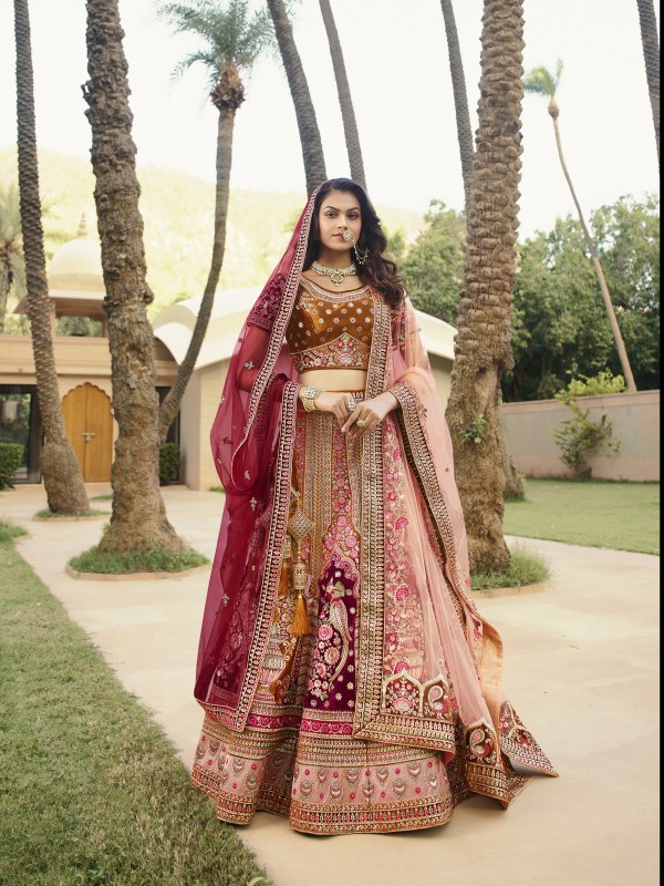 Pure Micro  Velvet Bridal  Wear Lehenga In Mustard With Embroidery Work