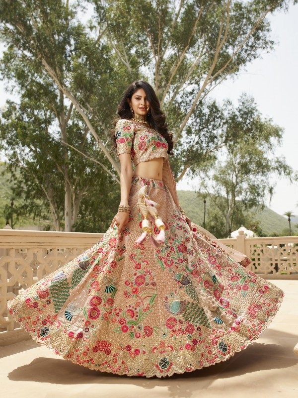 Pure Silk  Bridal  Wear Lehenga In Pink With Embroidery Work